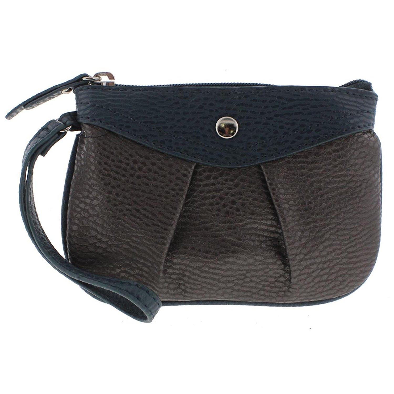 Style & Co. Womens Hannah Faux Leather Colorblock Wristlet Handbag