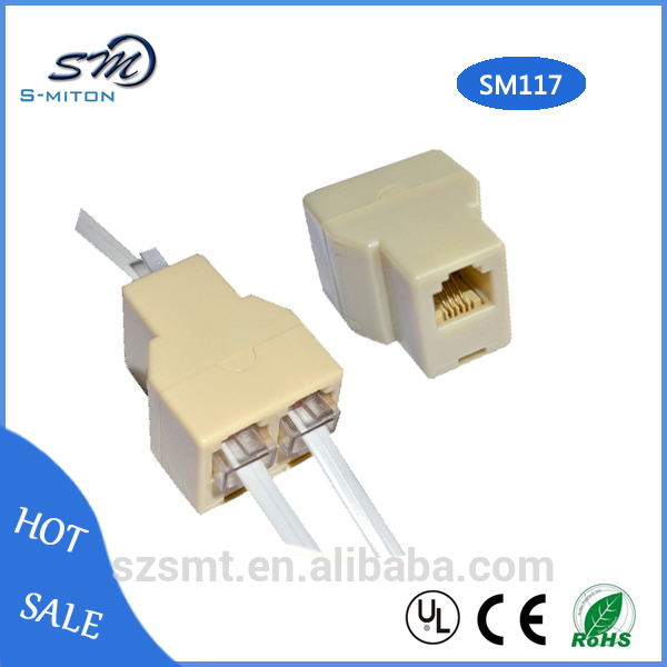 2-to-1 rj11 splitter cable adapter