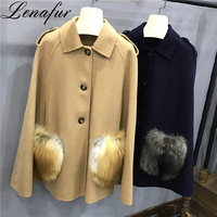 Italy Style Loose Black Khaki 100% Double Face Sheep Lamb Cashmere Wool Fur Poncho Cape Coat for Women