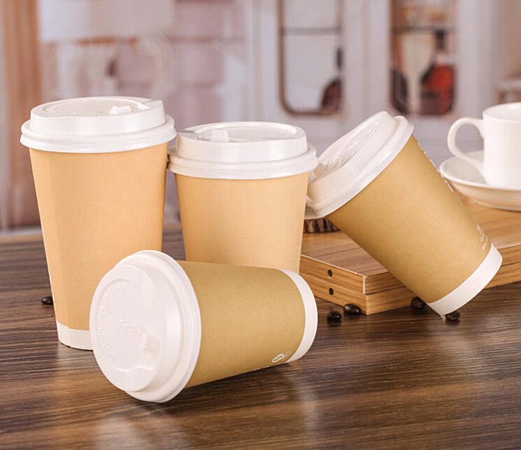 Eco friendly disposable kraft paper cup with lid
