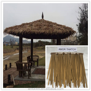 Synthetic thatch lighted palm trees for roofing material