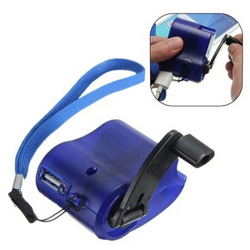 Portable USB Hand Crank Phone Charger Emergency Hand Power Dynamo with Rope  Manual USB Charging Charger Universal for Samsung