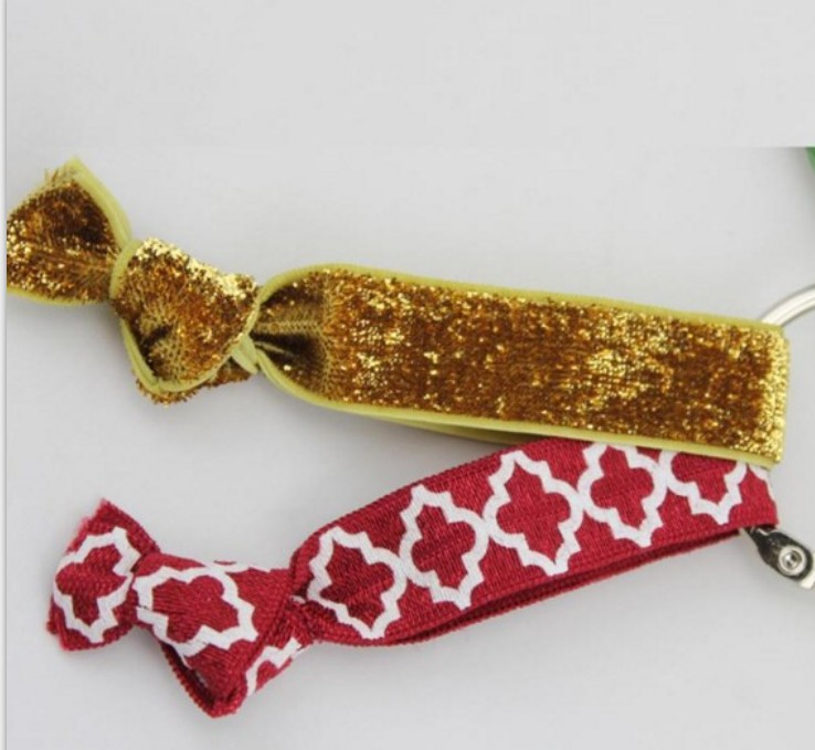 glitter elastic hair tie with key buckle