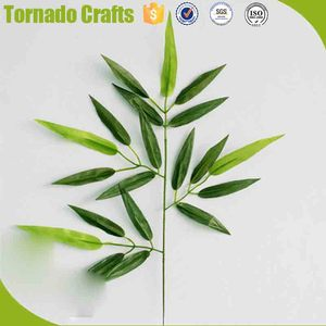 Artificial Silk cloth 60 Leaves Bamboo Leaf Plants Plastic Tree Branches Decoration