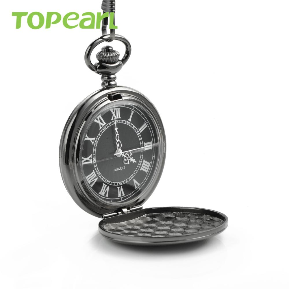 Best Gift Pendant Necklace Antique Style Pocket Watch Black Full-hanter Pocket Watch