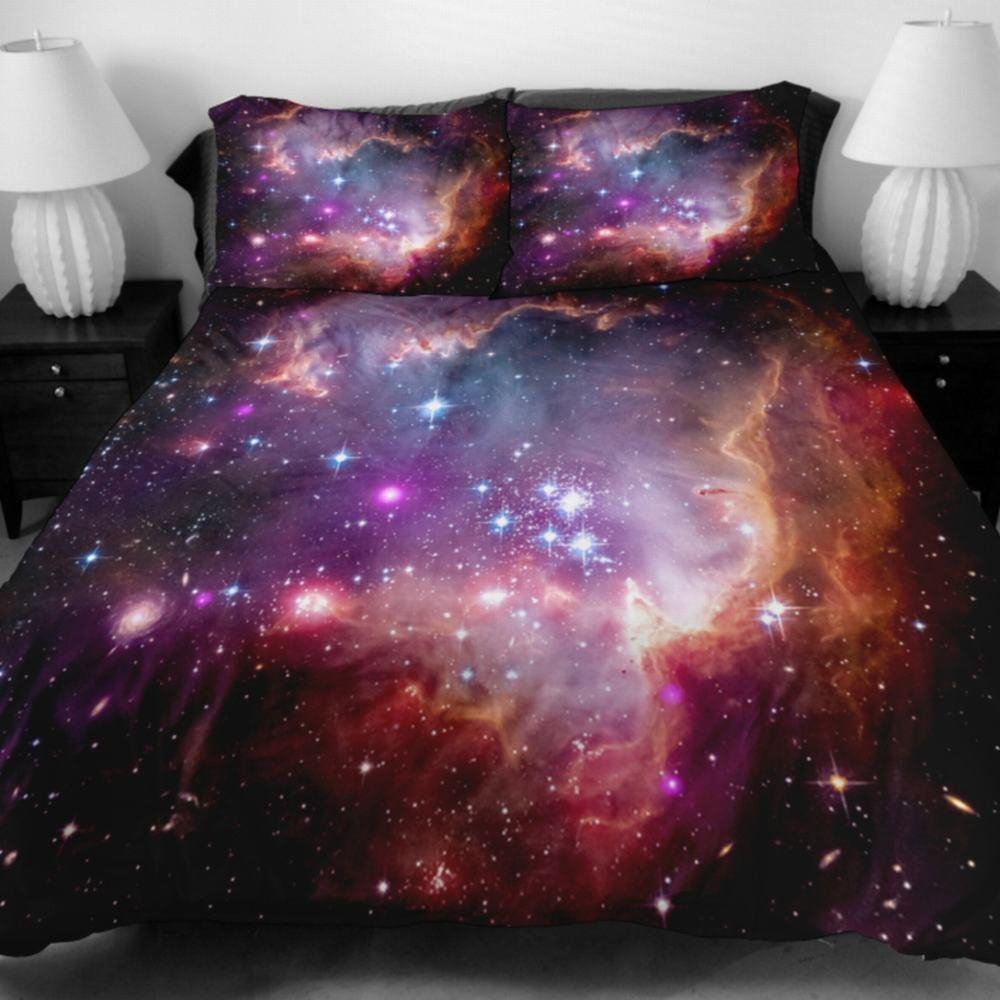 Alicemall XL Twin Size Galaxy Bedding Shining Purple Star Outer Space 4-Piece Nebula Fabric Bedding Sets, 3D Oil Painting Print Home Textile 4 PCS Duvet Cover Sets (Twin XL)
