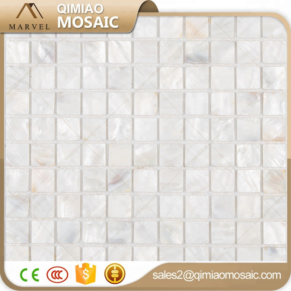 25x25 mm Super White Square Sea Shell Tiles Mosaic Floor In Shower