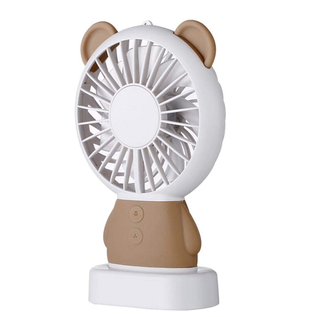Mini Handheld Fan, YKDY Mall Portable Outdoor Cartoon Bear Shape Personal Desktop Mute Fan 2 Speed USB Charging with LED Light for Outdoor Travel & Indoor Office Desk, Dorm, More (Brown)