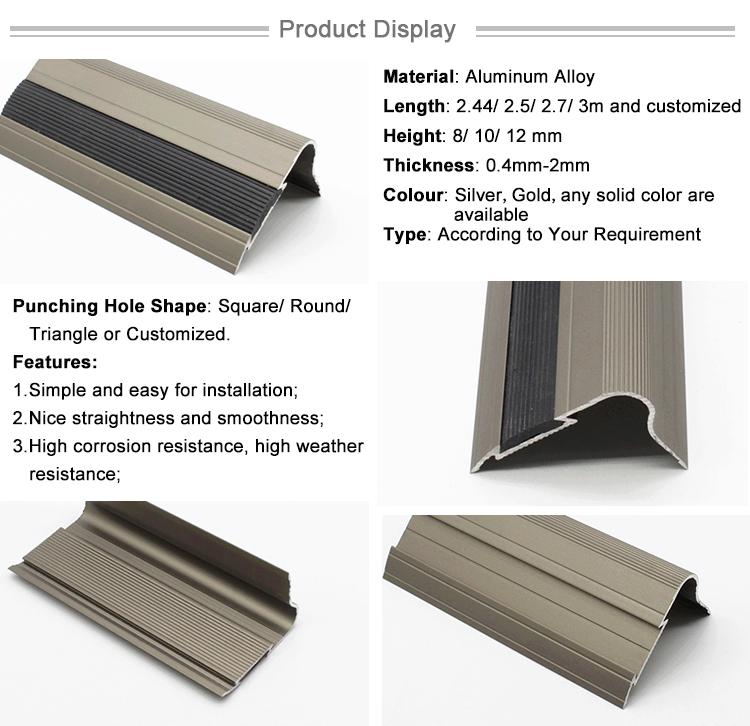 Factory Direct Sale Anti-Slip Black Metal Aluminum Ceramic Tile Edging Stair Nosing