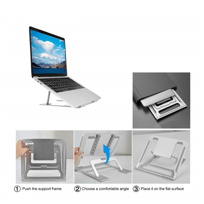 6 heights adjustments aluminum easy-to-carry foldable Laptop table desk stand