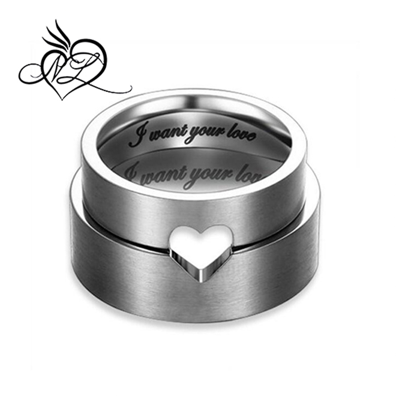 """I Want Your Love"" Hollow Matching Heart Stainless Steel Wedding Bands Matching Rings for Men Women"