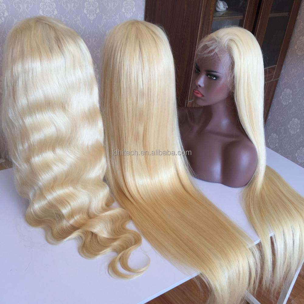 integration wigs with 100% remy human hair european hair full lace wig blonde color full lace wigs