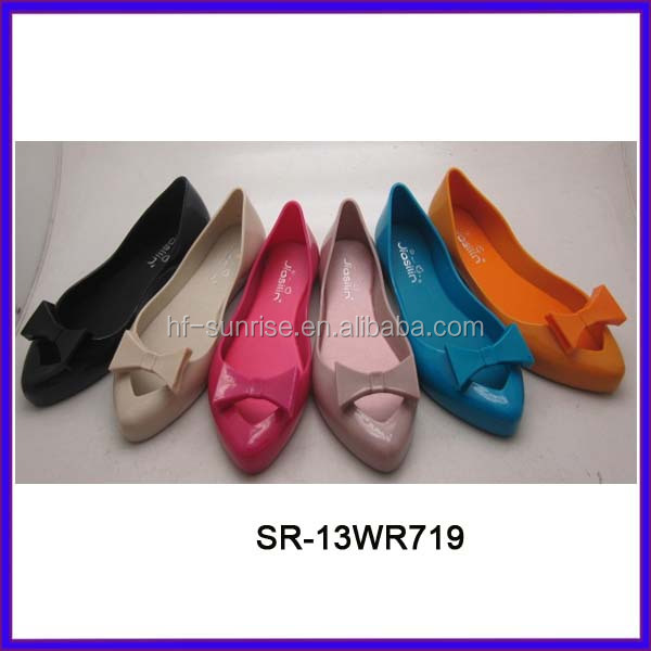 Sr-13wr723 Women Fashion Flat Pvc Jelly Shoes China Pvc Shoes ...