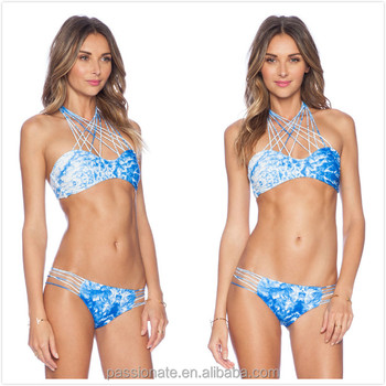4fccf64a9 Water Mark Print Sexy front X Cross Halter top bikini / two piece halter  bikini
