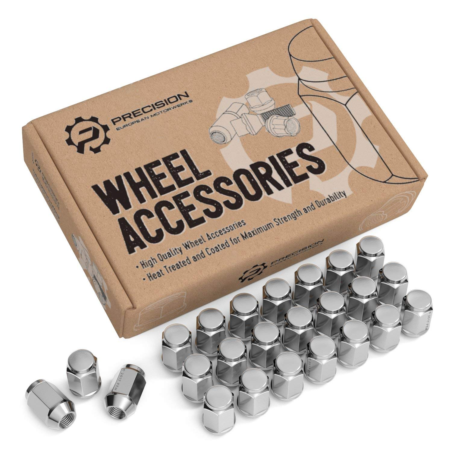 "24pc Chrome Silver Bulge Lug Nuts 1/2""-20 Thread Size - Conical Cone Taper Acorn Seat Closed End - 1.4"" Length - Installs with 19mm or 3/4"" Hex Socket - for Dodge Viper Dakota Durango"