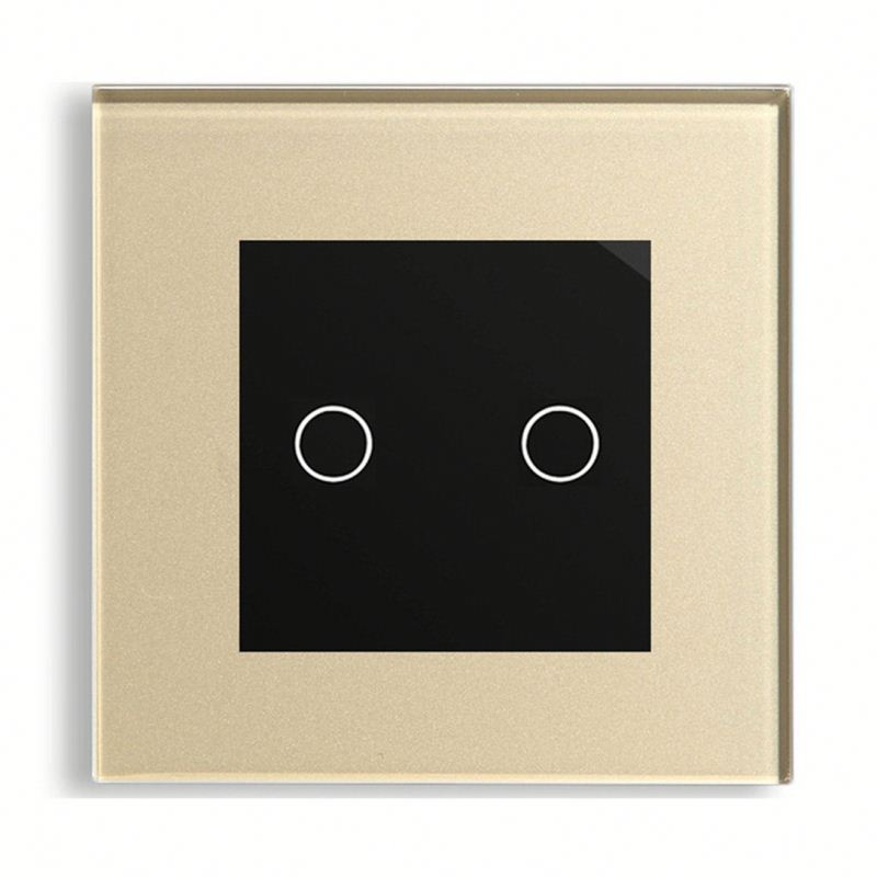 EU UK US AU 240V 2 Gang 1 Way Led Dimmer Switch with Crystal Panel Gold Touch Led Dimmer Touch Switch Panel Glass