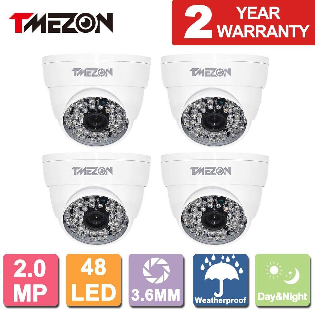 TMEZON 4 Pack AHD Camera 1080P AHD/CVI/TVI/960H 1500Tvl Security Camera 2.0MP Night Vision Outdoor 48 IR LEDs Day Night Vision with OSD Menu