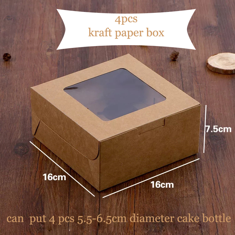 cheap price custom recycle kraft paper cake box for bakery, cake cupcake packaging with plastic clear windows