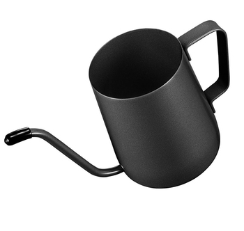 Durable long slender spout Coffee Pot (12 Oz) Small Fine Stainless Pour Over Drip Coffee Pot Gooseneck Tea Kettle(Black, 350ML)