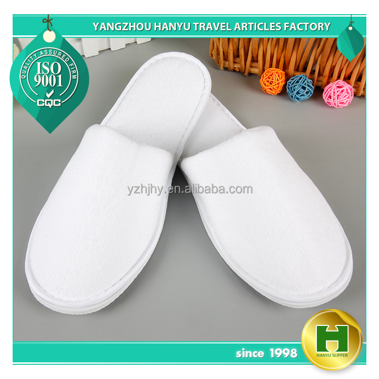 Fine Polyester Velvet Pile Hotel Slippers / White Disposable Velour Pile Hospital Room Slippers / Plain Custom Spa Slippers