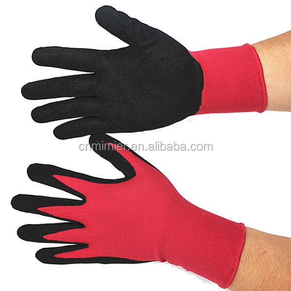 Seamless Knit Nylon dipped red Nitrile Form Coated Work Heatproof Gloves and Cut Resistance
