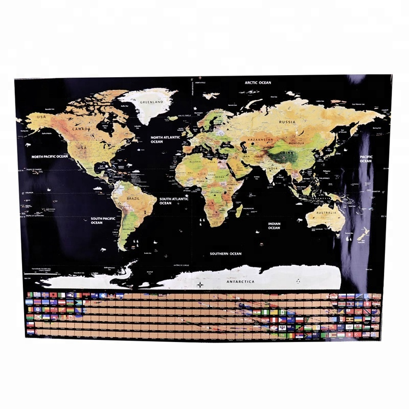 Scratch Off new personalizzabile Travel Edition Deluxe Mappa Del Mondo con 250g Stagnola di Oro