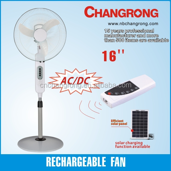CR-8416 cheap rechargeable stand fan remote control with solar charging