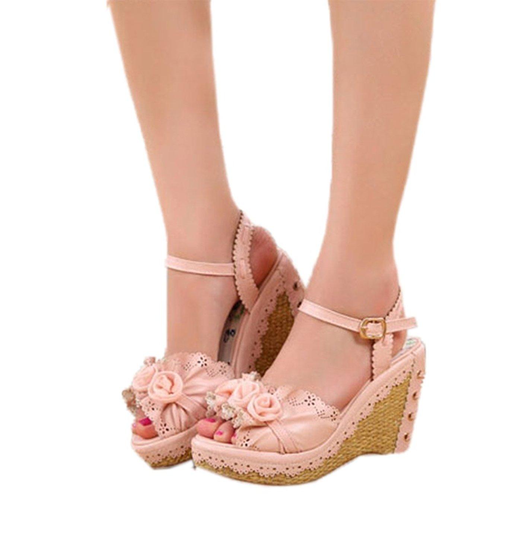 baf0fa89649c Get Quotations · Nuoqi Womens Lolita Sweet Rose Flower Pink High Heel  Slingback Wedges Sandals
