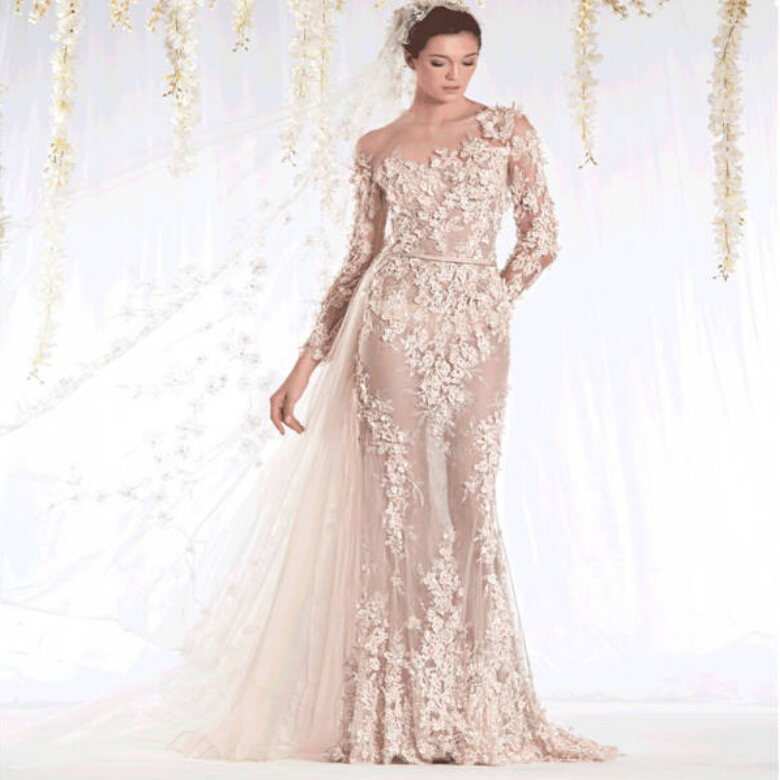 Buy 2015 Sheer Neckline Lace Applique Champagne See-through Mermaid ...