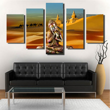 The modern desert sitting Buddha is five pieces of print without frame