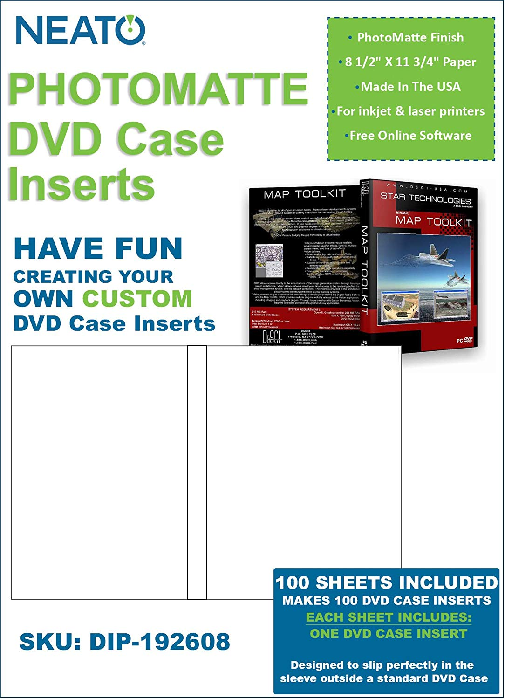 Neato PhotoMatte DVD Case Inserts - 100 Sheets Makes 100 DVD Case Inserts