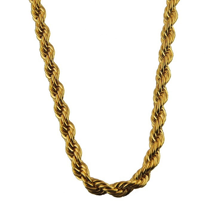 18k yellow Italy gold filled twisted rope chain necklace jewelry