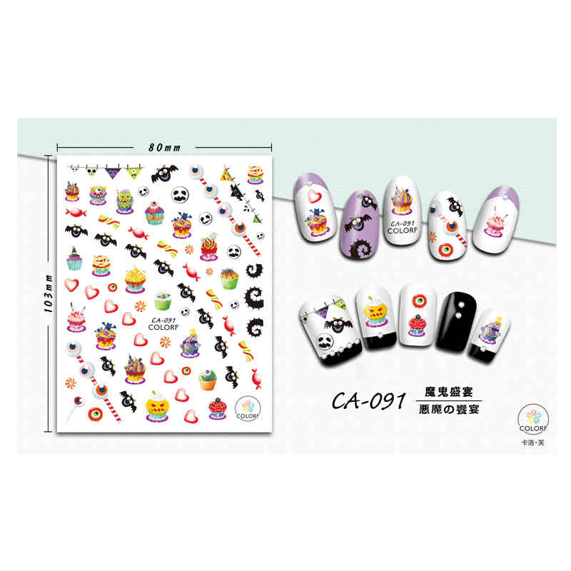 CA091-100 2019 Fashionable Super Sticky Finger Nail Art Halloween Design Nail Art Sticker 2D for Girls