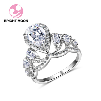 Bright Moon Brand Newshe Solid AAA CZ 925 Sterling Silver Wedding Ring Sets Engagement Band Gift Jewelry For Women Size 7 8 9