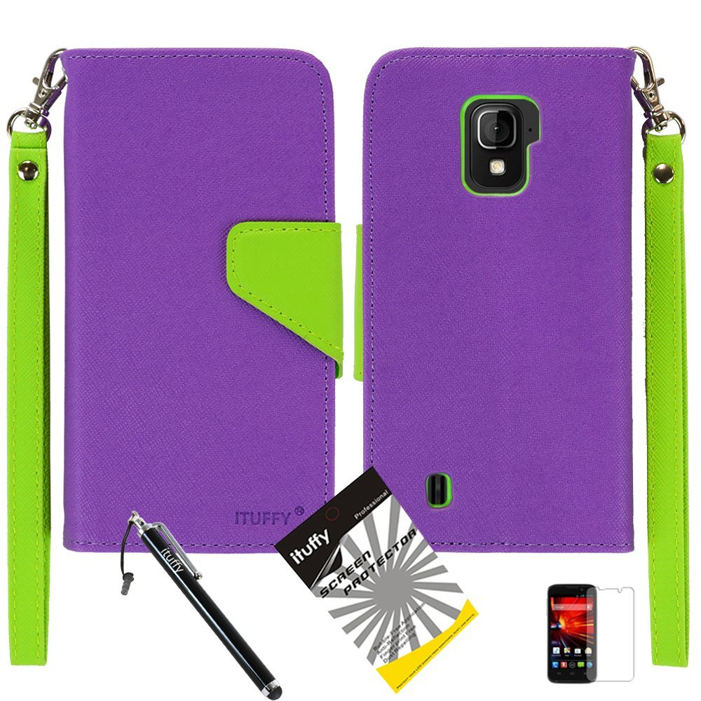 3 items Combo: ITUFFY (TM) LCD Screen Protector Film + Mini Stylus Pen + 2-Tone Leather Wallet & ID Card Case with lanyard for ZTE SOURCE N9511 / ZTE Majesty Z796c - (StraightTalk, Net10, Cricket) (Purple / Green)