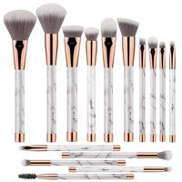 Private Label 15pcs White/Black Marble Makeup Brushes Foundation Powder Blush Contour Eyeshadow Beauty Makeup Brushes Set