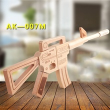DIY simulation <span class=keywords><strong>Model</strong></span> Wooden Rifle Gun Toy Pretend Play Fighting Game Educational Assemblage Kids AK47 Toy Gun