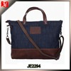 Vintage style high quality denim shoulder bag women leather oversized handbag
