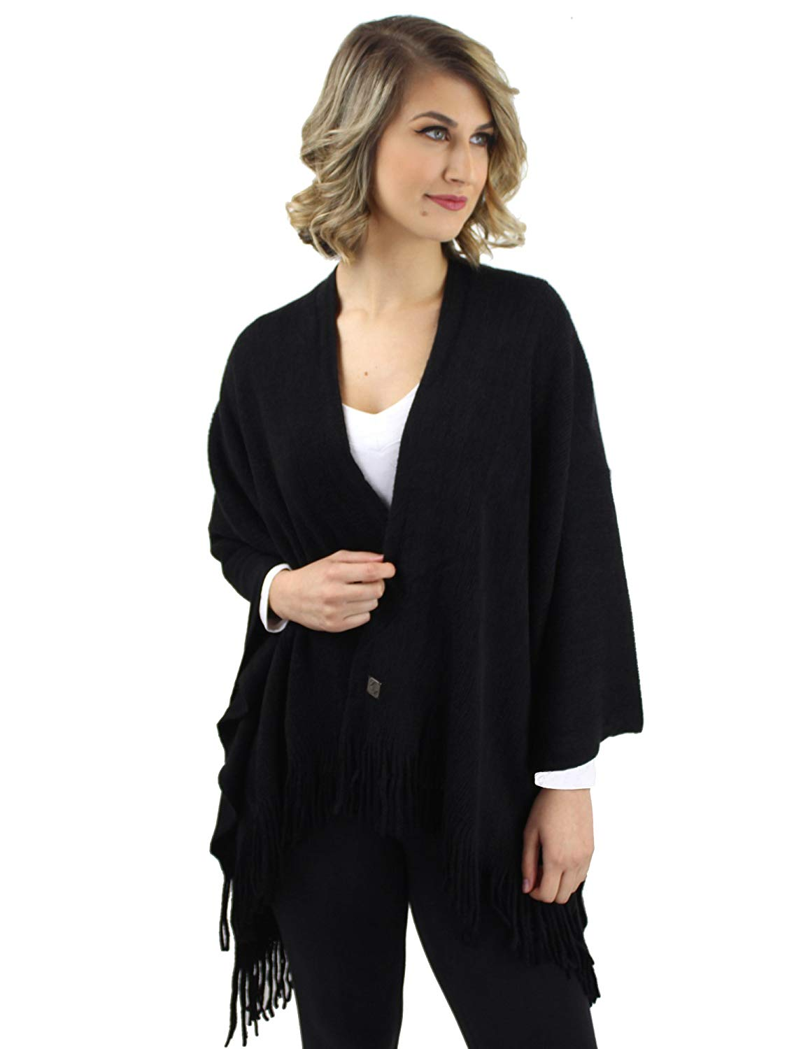Luxury Divas Ultra Soft Knit Poncho Shawl
