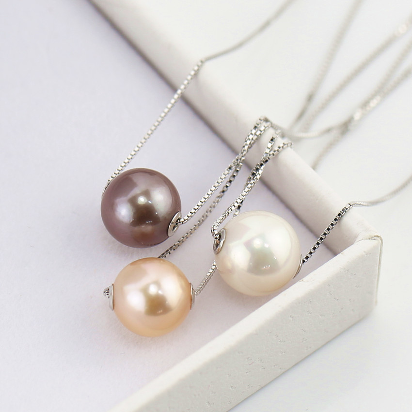 925 sterling Silver designs natural freshwater jewelry pearl necklace pendant