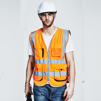 High quality Men's multi pockets Fluorescent <strong>orange</strong> gilet reflective safety vest company logo printing