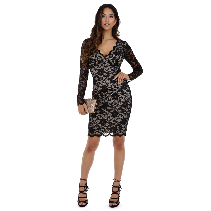 Low Price Homecoming Dresses V-Neck Long Sleeve Black Sexy Lace Midi Dress