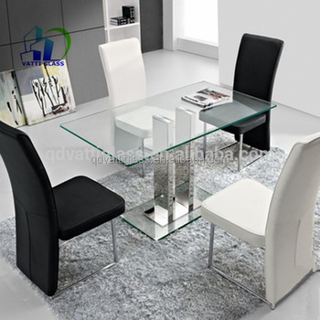 Tempered Glass Top Used Modern Glass Dining Table Design 6mm
