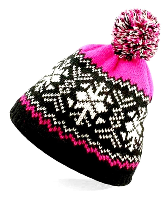 Little Princess Ladies Winter Fleece LINE Knitted Beanie Ski Hat Fairisle Faux Fur Bobble Pompom
