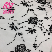 High quality fashion design rose pattern polyester mesh fabric tulle flocked fabric