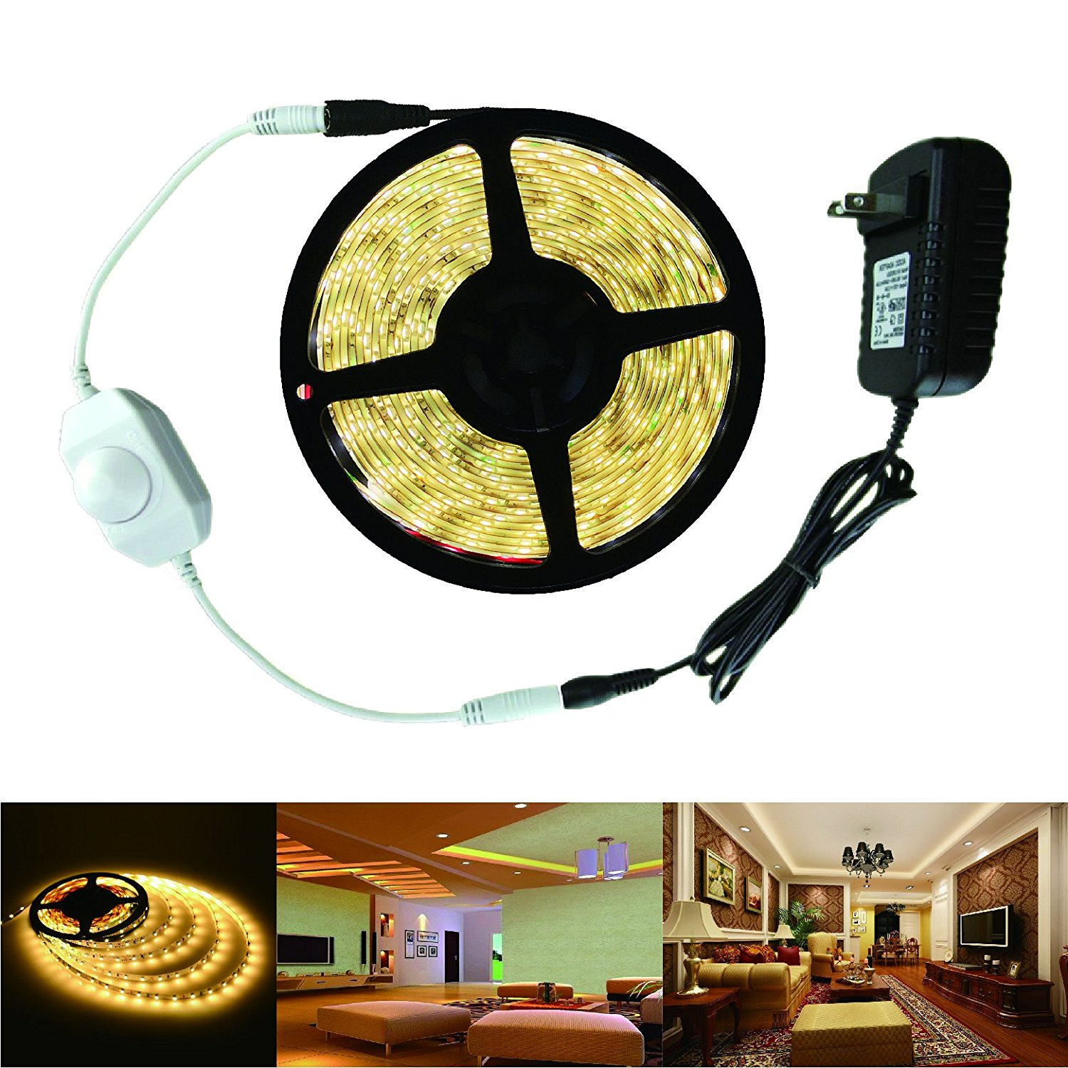 Uplights SMD 3528 Warm White LED Light Strip Kit 4500K 300 LEDs IP65 Waterproof - Includes 2A Power Supply (24 Watt) and Dimmer - LED Tape Light
