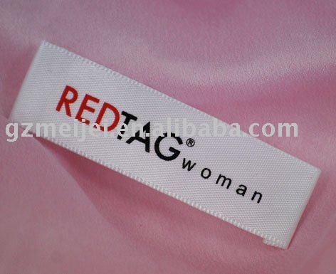Washable woven plain satin screen printed labels for clothing