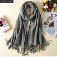 2017 Winter New Wool Scarf Wholesale Plain Color Thick Women Wool Scarf