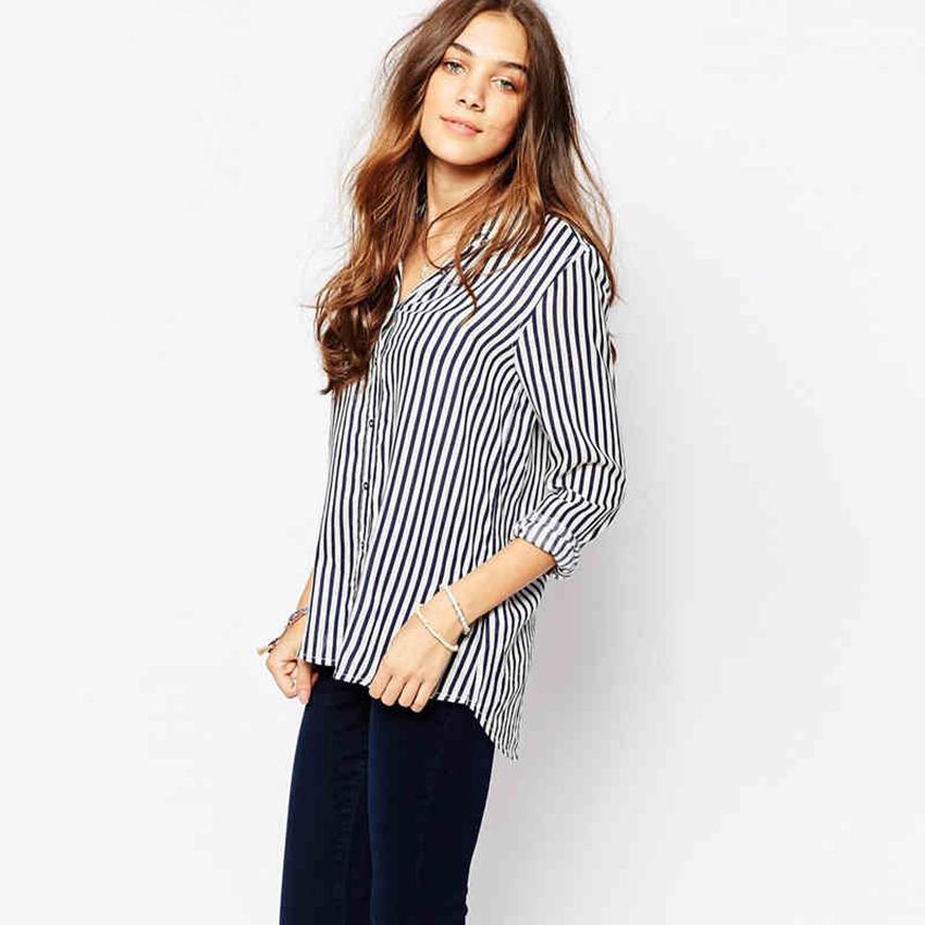 a3feb541413 White And Black Striped Boyfriend Shirt Women Long Sleeve Casual Blouse  2015 Autumn Ladies Tops OL Office Shirts Blusa Feminina