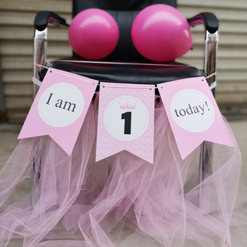 Cheap First Birthday IAM ONE Today Paper BB Chair Banner for Birthday Party Decoration